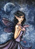 Amethyst Dragon Fairy Watercolor Art by Molly Harr
