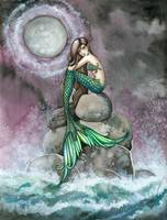 Emerald Mermaid Fantasy Art Print by Molly Harriso