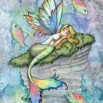 """Leaping Carp Colorful Watercolor Mermaid Art Print"" by robmolily"