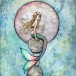 """Sinking Moon Mermaid Fantasy Watercolor Art Print"" by robmolily"