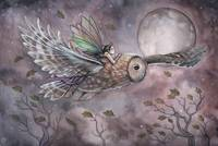 Soaring Fairy and Owl Fantasy Art Print by Molly H
