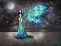 Aquamarine Eve Night Fairy Fantasy Art Print by Mo