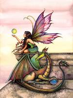 Dragon's Orbs Fairy and Dragon Fantasy Art Print b