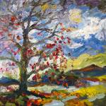 """Impressionist Autumn Tree Red Leaves Oil Painting"" by GinetteCallaway"