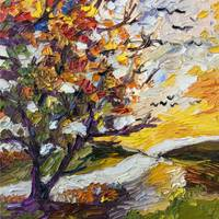 Impressionist Oil Autumn Sunset by Ginette