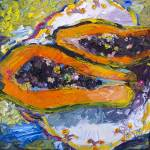 """Tropical Fruit Papaya Modern Impressionism Oil Pai"" by GinetteCallaway"
