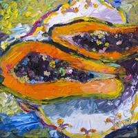 Tropical Fruit Papaya Modern Impressionism Oil Pai