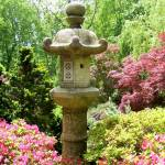 """Japanese Garden Lantern with Azaleas"" by Marysvision"