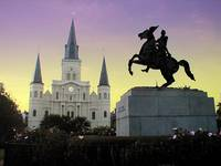 Purple & Gold sky over Jackson Square
