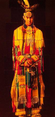 Native American Indian Portrait-Collage-Red/Yellow