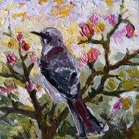 Mockingbird in Spring  Impressionist Oil Painting