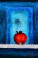 Red tomato on a blue background