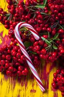 Candy cane and berries