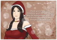 Christmas Girl Greeting Card - Brown Hair