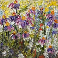 Wildflower Patch Purple Coneflowers Oil Painting