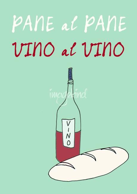 Italian kitchen art poster vino pane quote by patruschka for Italian kitchen prints