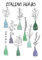Italian kitchen herbs food print