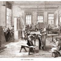 """Carpenters Shop Illustrated London News "" by William Claspy"