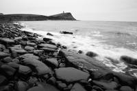 Kimmeridge bay in black and white