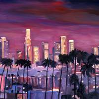 Los Angeles Golden Skyline Art Prints & Posters by M Bleichner