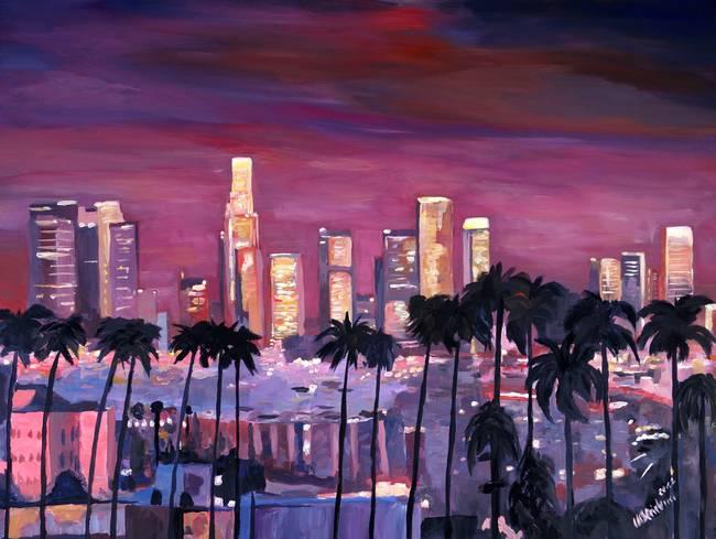 Stunning los angeles skyline painting reproductions for for Painting in los angeles