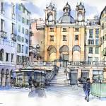 """Piazza Banchi a Genova"" by lucamassonedisegni"
