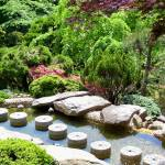 """Japanese Garden Stepping Stones and Trees"" by Marysvision"