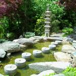 """Japanese Garden Stepping Stones and Lantern"" by Marysvision"