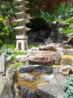 Japanese Garden Waterfall and Lantern