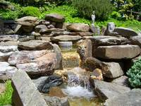 Japanese Garden Waterfall and Statue