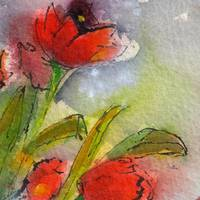 Red Tulips Modern Decor Square Abstract by Ginette