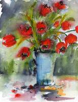 Red Tulips Still life Modern Watercolor by Ginette