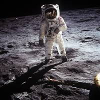 Astronaut Buzz Aldrin on the moon