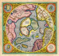 1606 Mercator Hondius Map of the Arctic First Map