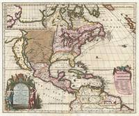 1698 Louis Hennepin Map of North America Geograp