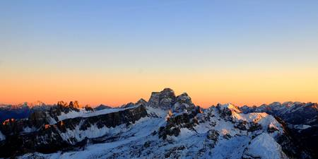 Colors of Sunset over dolomites mountains