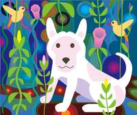 white dog in garden jungle