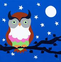 Owl on Blue