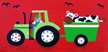Green Tractor on Red