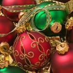 """Red and green Christmas ornaments"" by photogarry"