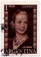 Eva Peron Argentina First Lady Stamp: Wearing Ruby