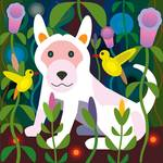 """White puppy in Jungle Garden"" by charker"
