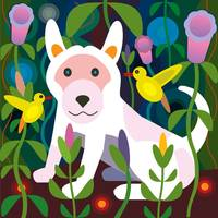 White puppy in Jungle Garden