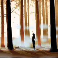 Warm Forest Myst - Silhouette Art Prints & Posters by Dana Bennett