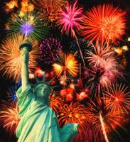 Fireworks by the Statue of Liberty A 2