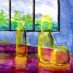 """Yellow Bottles on Fuschia Table"" by Lenora"