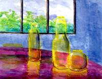 Yellow Bottles on Fuschia Table