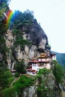 Tigers Nest Bhutan and prayer flags 4 rainbow