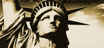 Statue of liberty face close up tonal