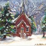 """little church white Christmas"" by artbyangie"